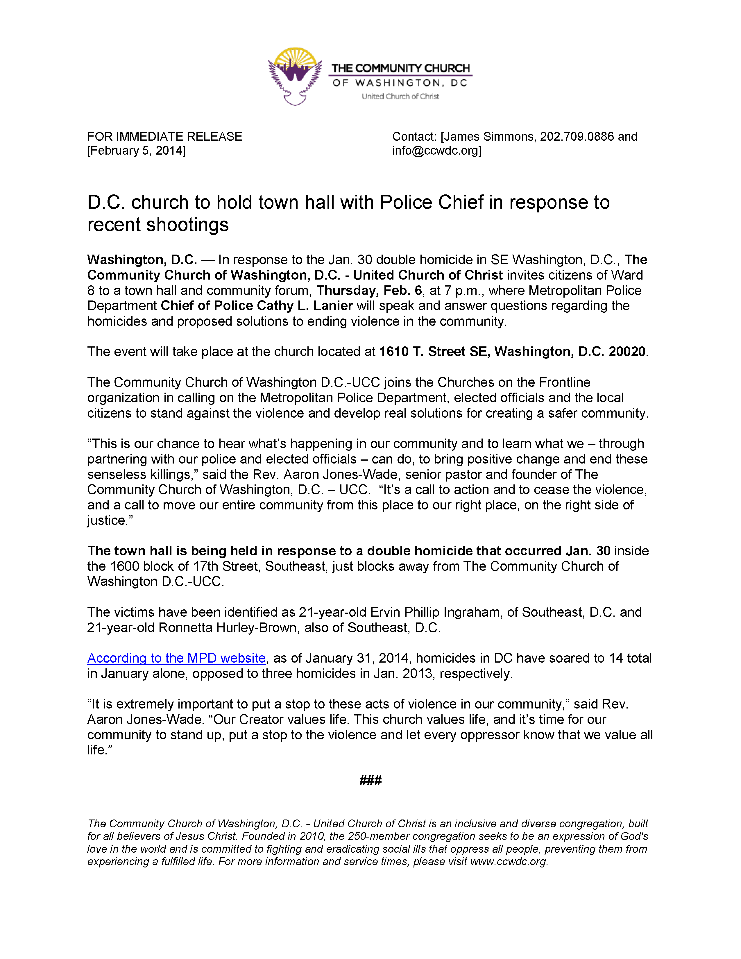 FEB2014 Call To Action Homicide  press-release